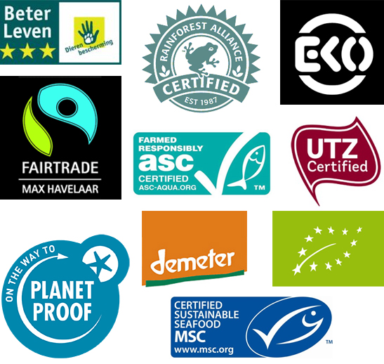De 10 topkeurmerken zijn:  ASC, Beter Leven keurmerk (2 en 3 sterren), Demeter, EKO, Europees biologisch keurmerk, Fairtrade/Max Havelaar, On the way to PlanetProof, MSC, Rainforest Alliance, UTZ