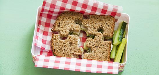 Boterham in puzzelstukjes - lunch voor school