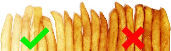 bak friet goudgeel en niet te bruin